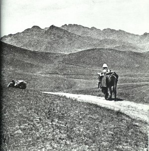 "Teilhard de Chardin on the Mongolian plateau in 1924. It was around this time he wrote ""The Mass on the World""."