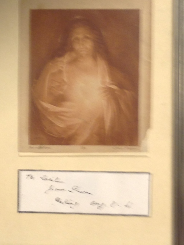 Teilhard de Chardin's picture of the Sacred Heart of Jesus at Georgetown (apologies about the poor photography)