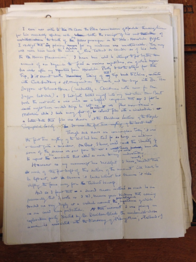Letter from Teilhard de Chardin to George Barbour