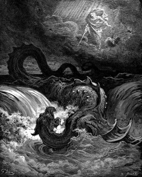 Destruction of Leviathan. 1865 engraving by Gustave Doré