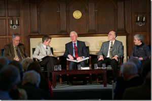 Panel members included John F. Haught, PhD; Ilia Delio OSF, PhD; John Grim, PhD; and Kathleen Duffy, SSJ, PhD. The discussion was moderated by Frank Frost, PhD, director of the Teilhard de Chardin Project.